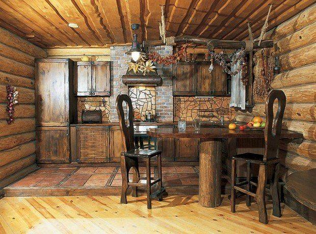 Интерьер кухни под дерево в стиле рустик