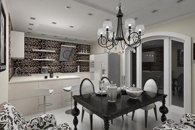 черно-белая кухня в стиле арт-деко