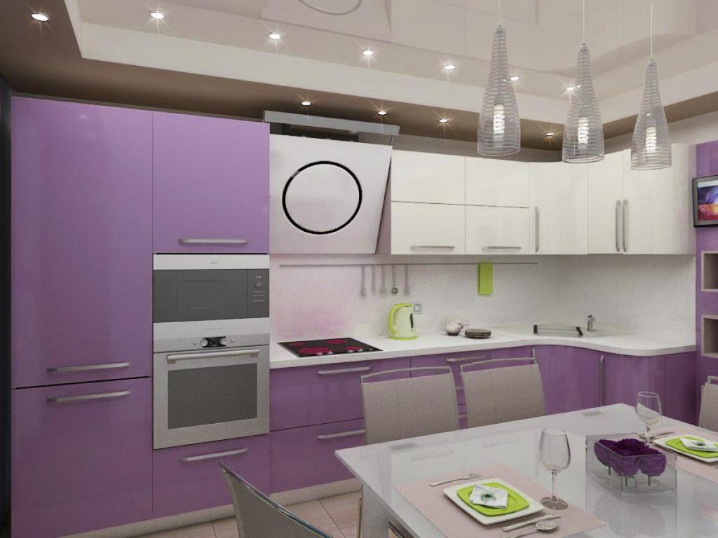 сиреневая кухня в стиле минимализм