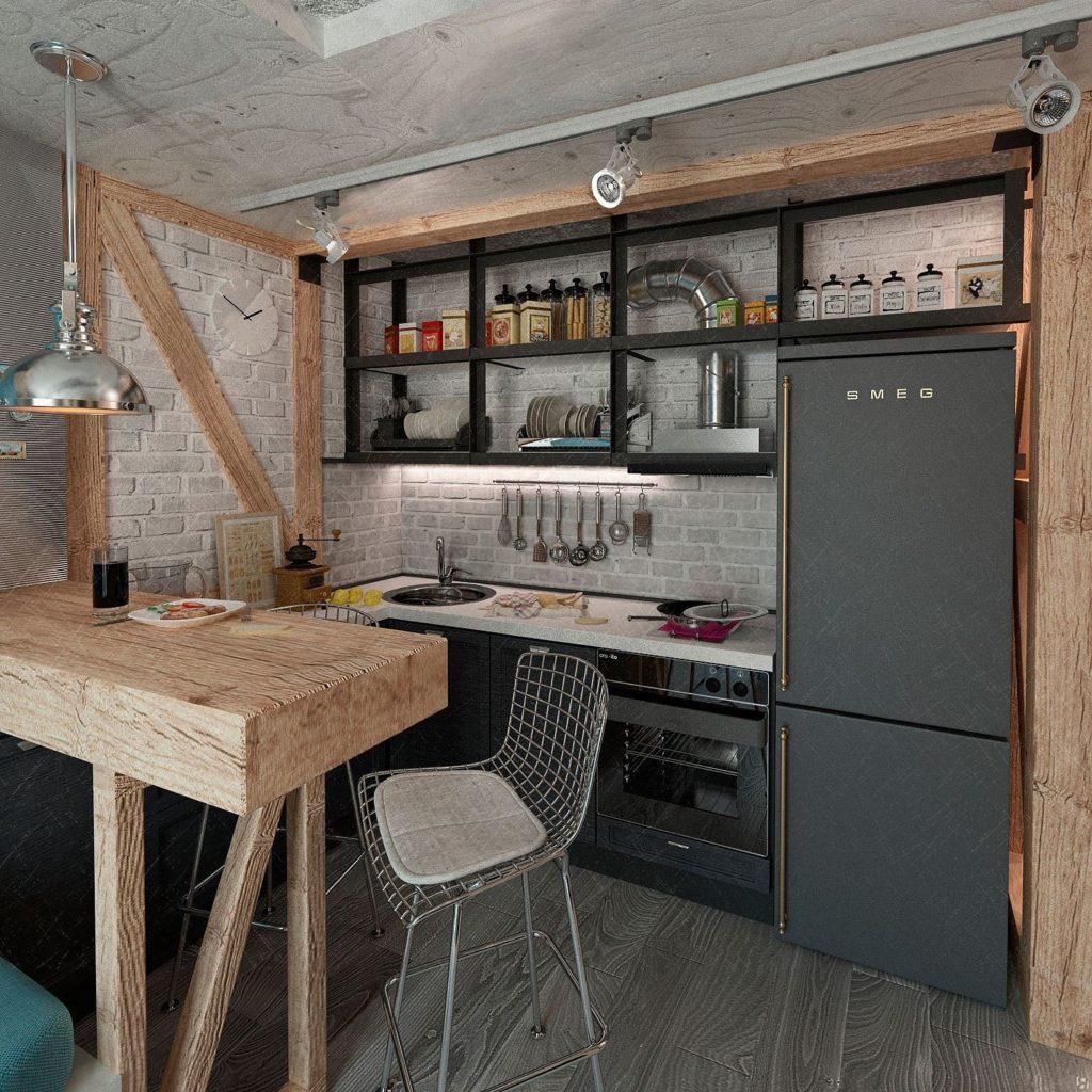 кухня лофт ламинат