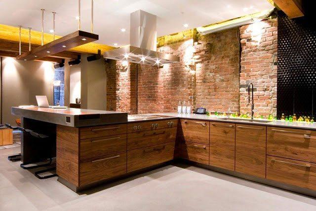 кухня лофт стены