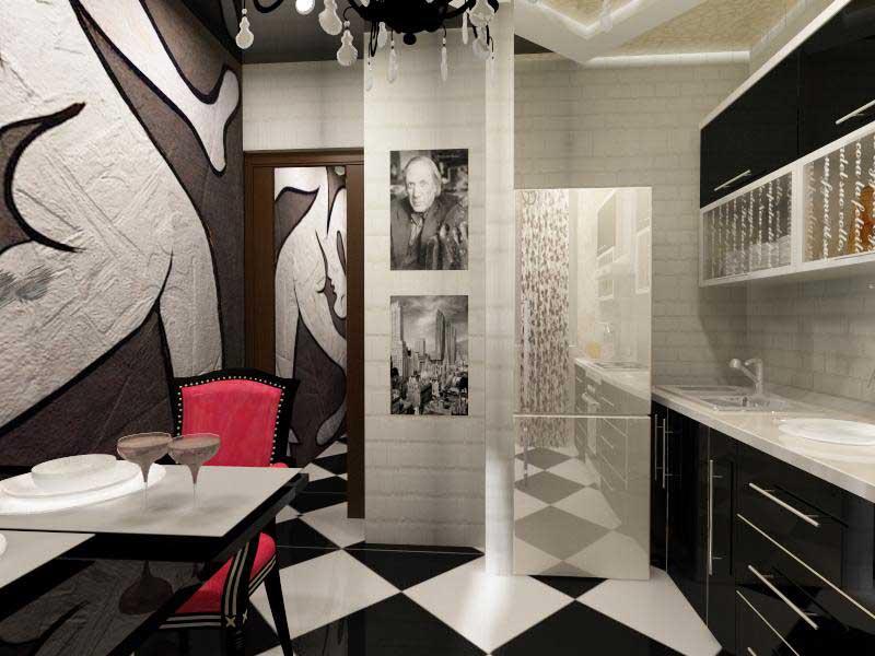 Авангардный стиль с мойкой в углу на кухне