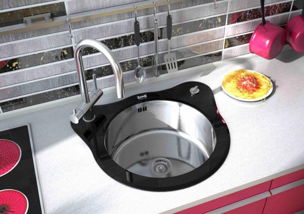 Круглая кухонная мойка из нержавейки с добавлением стекла