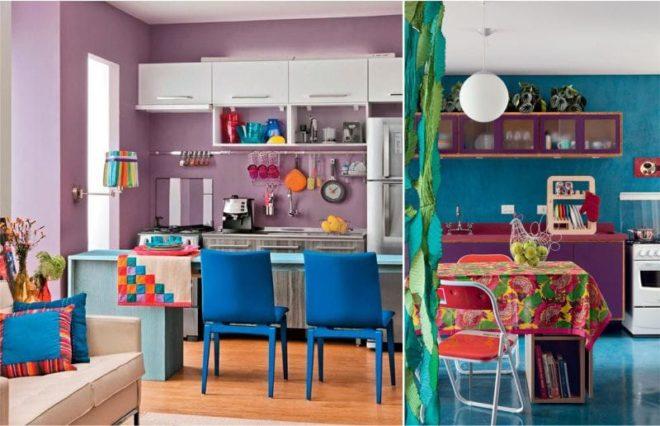 кухня фиолетовая с синим