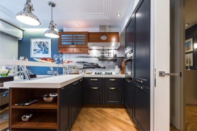 бело-синяя кухня 1