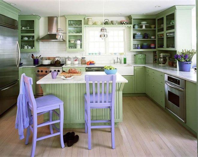 сиренево-салатовая кухня