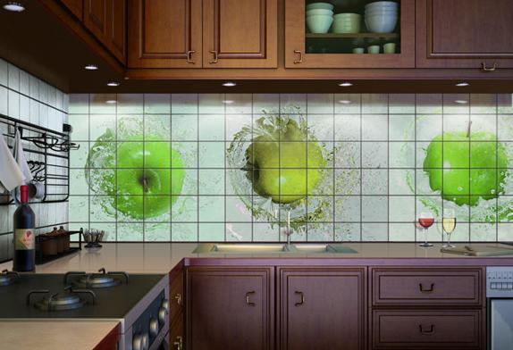 серо-зеленый фартук и фотоплитка на кухню