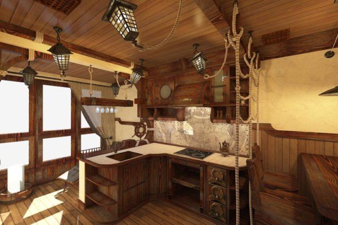 кухня в виде палубы корабля