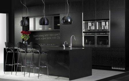 светильники на черной кухне