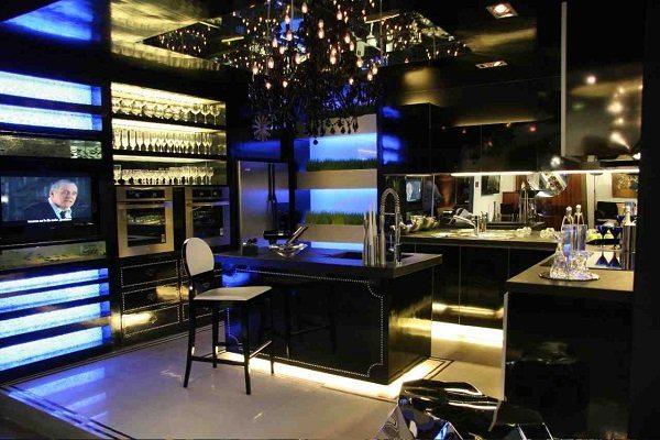 подсветка черной кухни