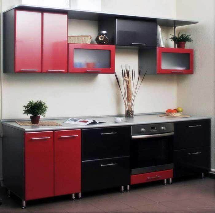 кухня в черно-красном цвете