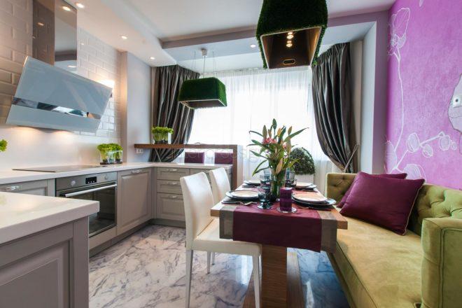 Дизайн кухни 10 кв м обои