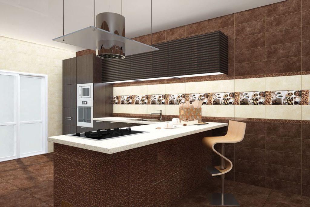 кухня из коричневой плитки