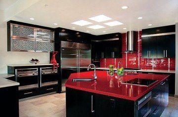 глянцевая черно-красная кухня