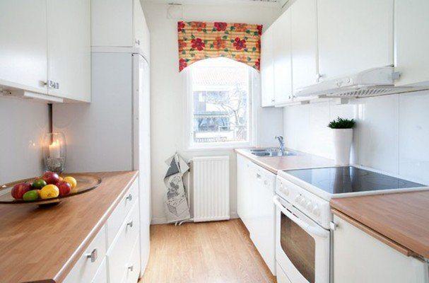 параллельное расположение мебели на кухне