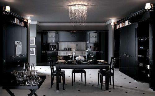 освещение на черной кухне