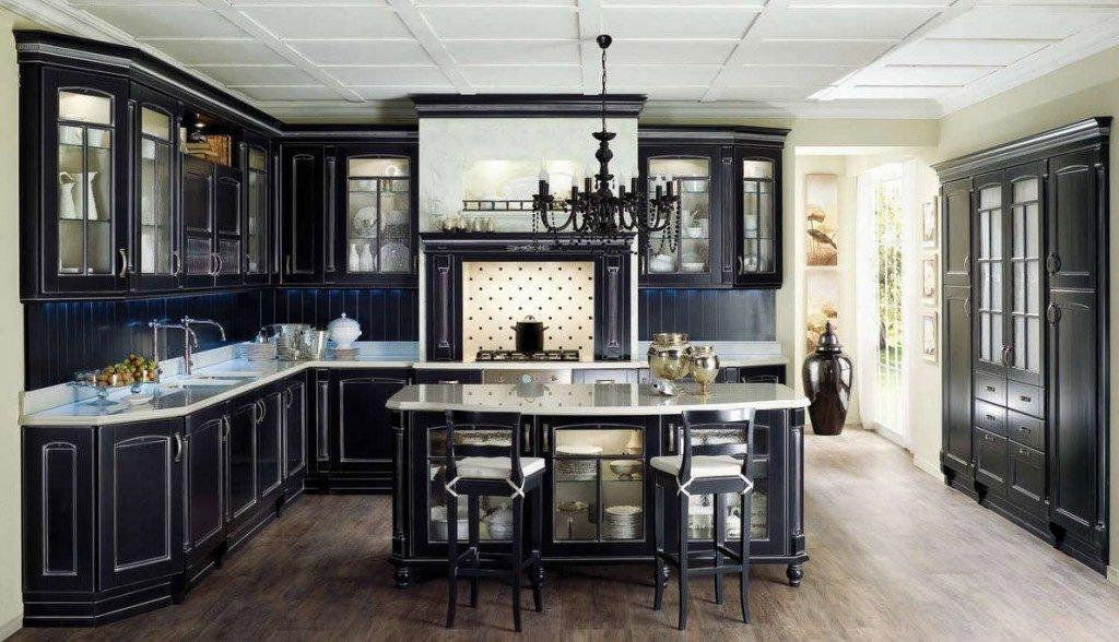Кухни бело-черные классика фото