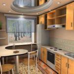 кухня 8 кв м столешница на подоконнике
