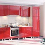 красная кухня в интерьере хай-тек 1