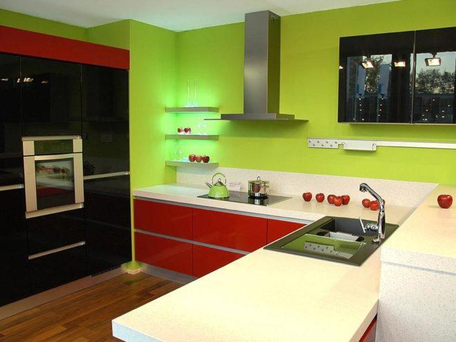 сочетания цветов на красной кухне 1