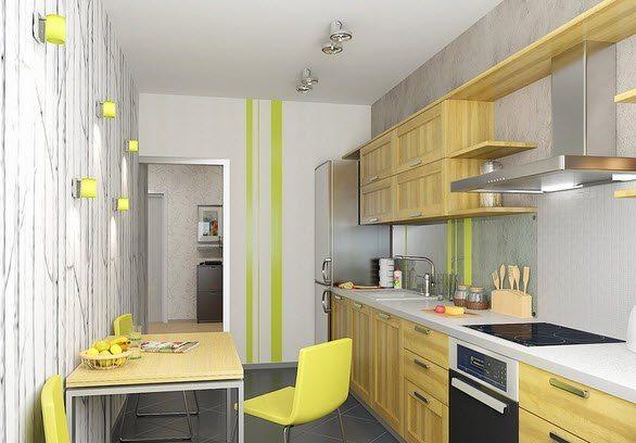 кухня 8 кв в желтых тонах