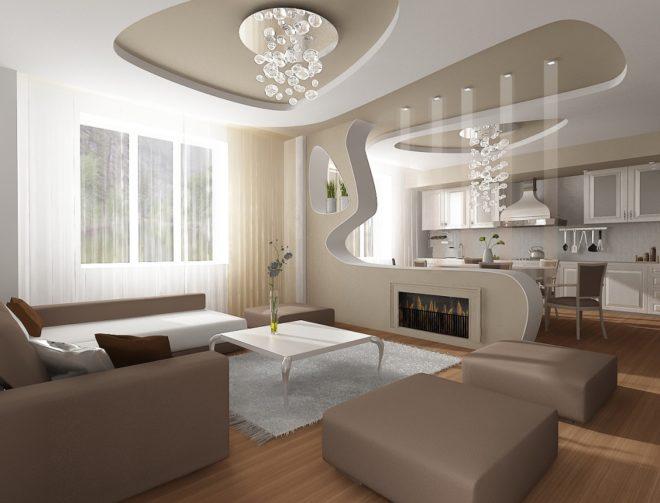 Дизайн квартиры-студии. Кухня с гостиной