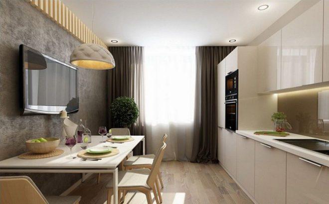 Дизайн кухни 9 кв.м. с линейной планировкой