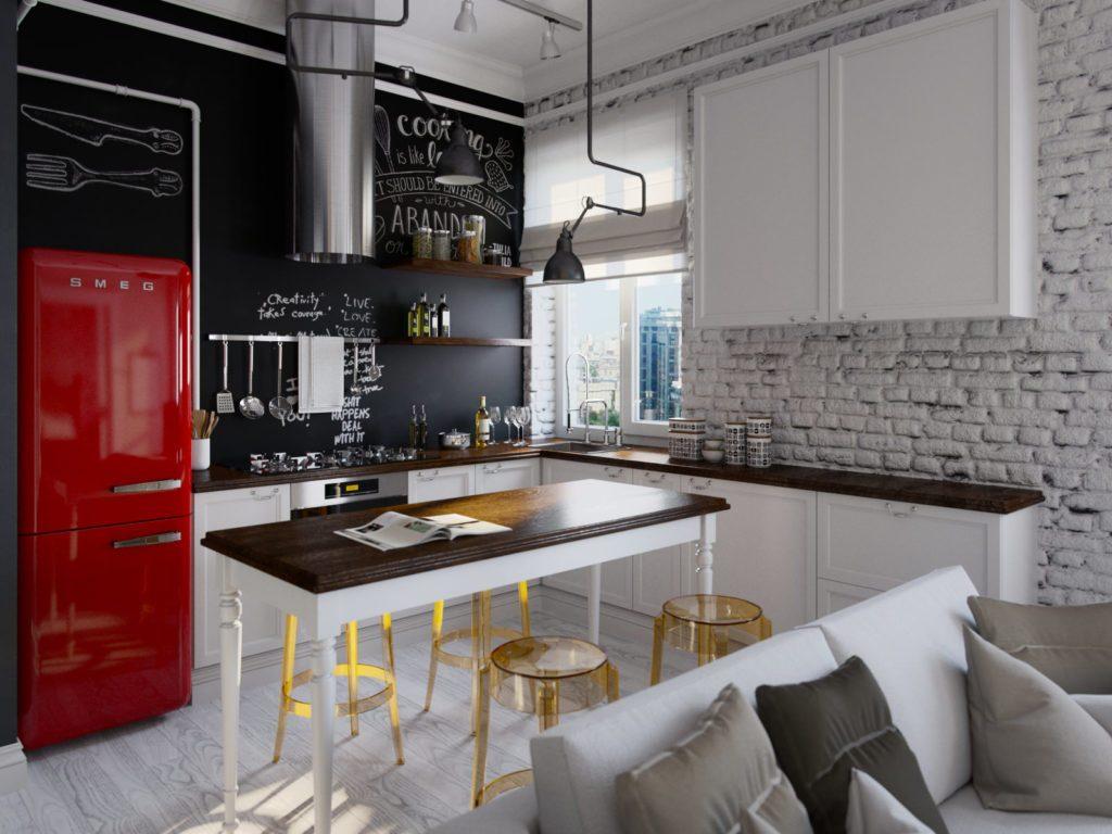 Интерьер кухни с холодильником