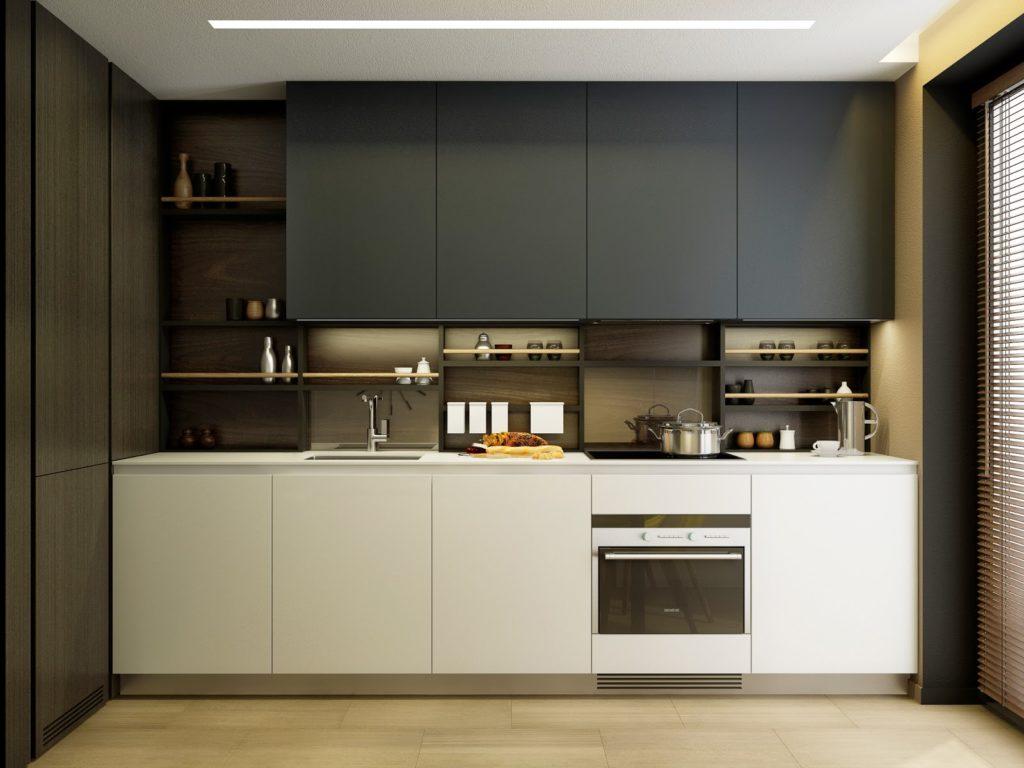 Дизайн кухни 9 кв.м. в серых тонах