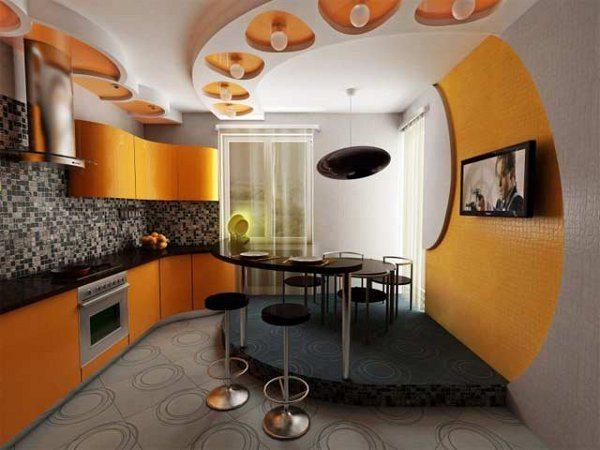 планировка кухни в желтых тонах