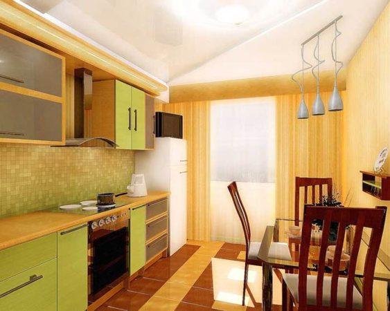 Линейная планировка кухни 9 квадратов