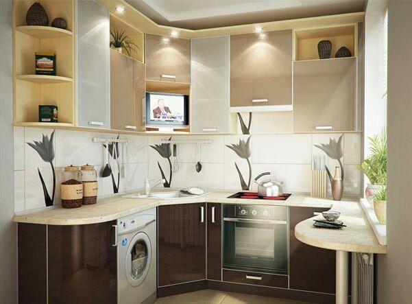 Интерьер маленькой Г-образной кухни