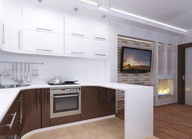 Коричнево-белая кухня в стиле лофт