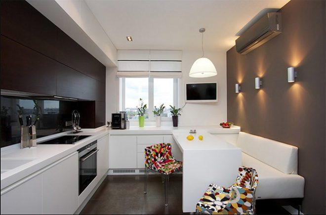 Современный дизайн интерьера маленькой кухни