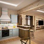 Интерьер уютной кухни в частном доме