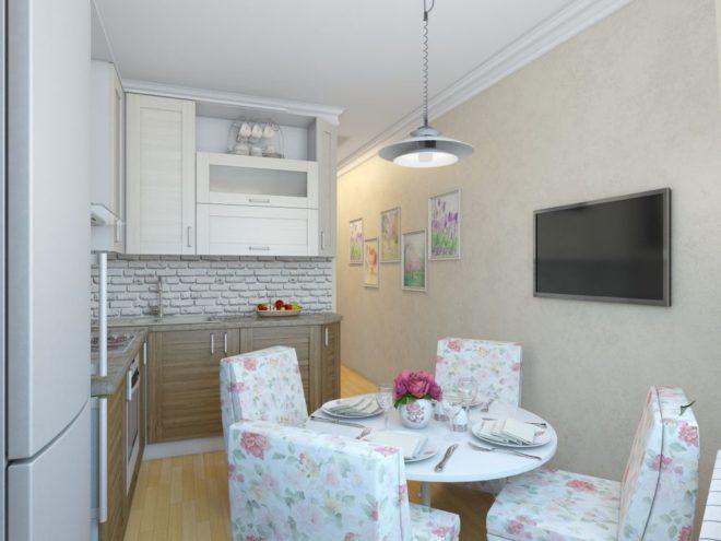 Современная кухня 9 кв.м. в стиле прованс