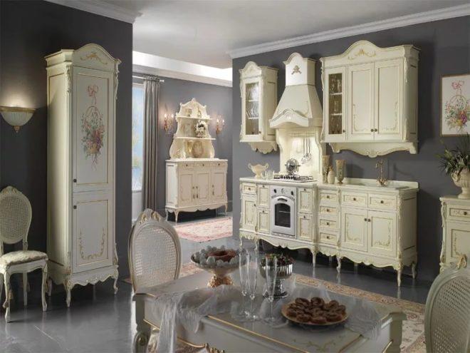 Серая кухня классический стиль