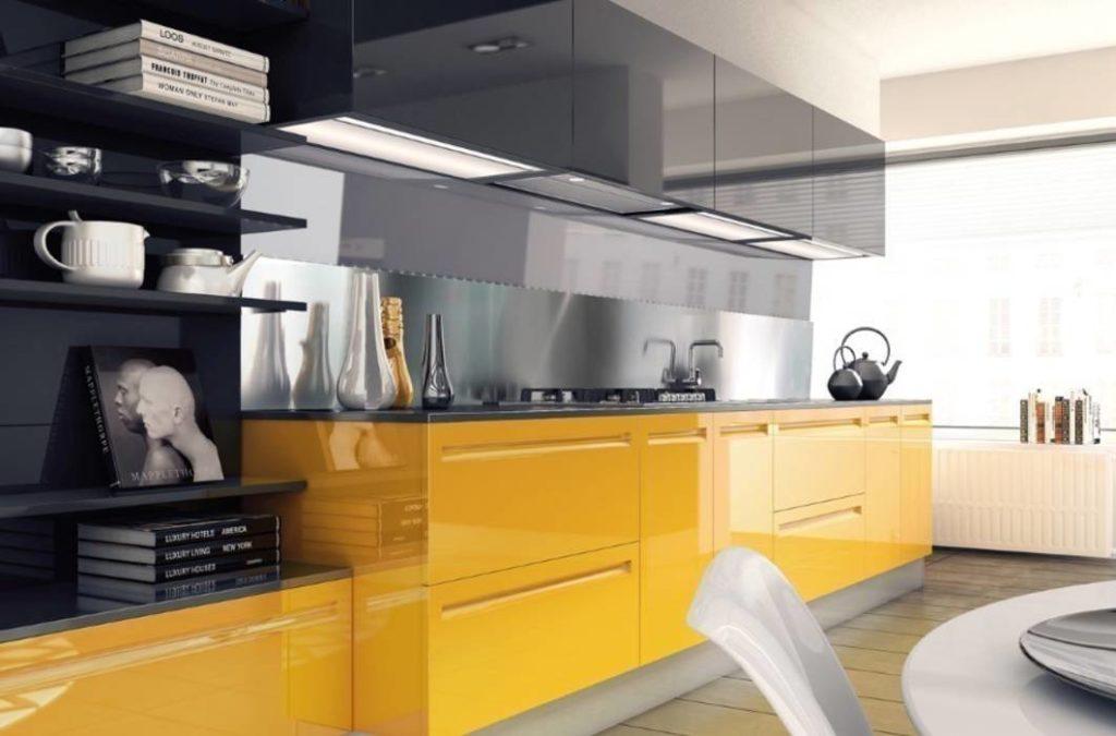 Серые и желтые цвета на кухне