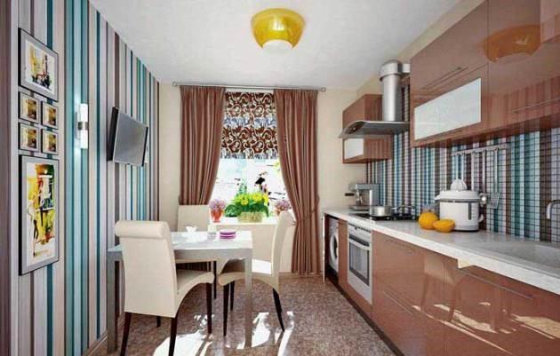 Вертикальные полосы на кухне