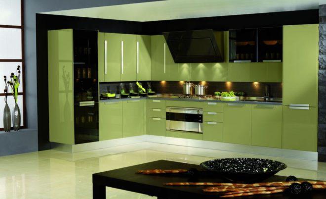 Особенности кухни в оливковом цвете