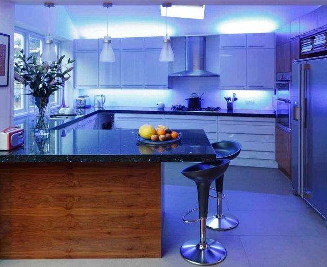 Освещение кухни светодиодные лентами