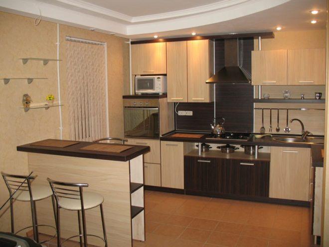 Сочетание МДФ и ЛДСП мебели кухни