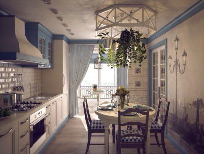Стиль прованс кухни с балконом