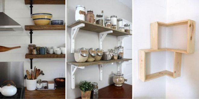 Декоративные открытые кухонные полки