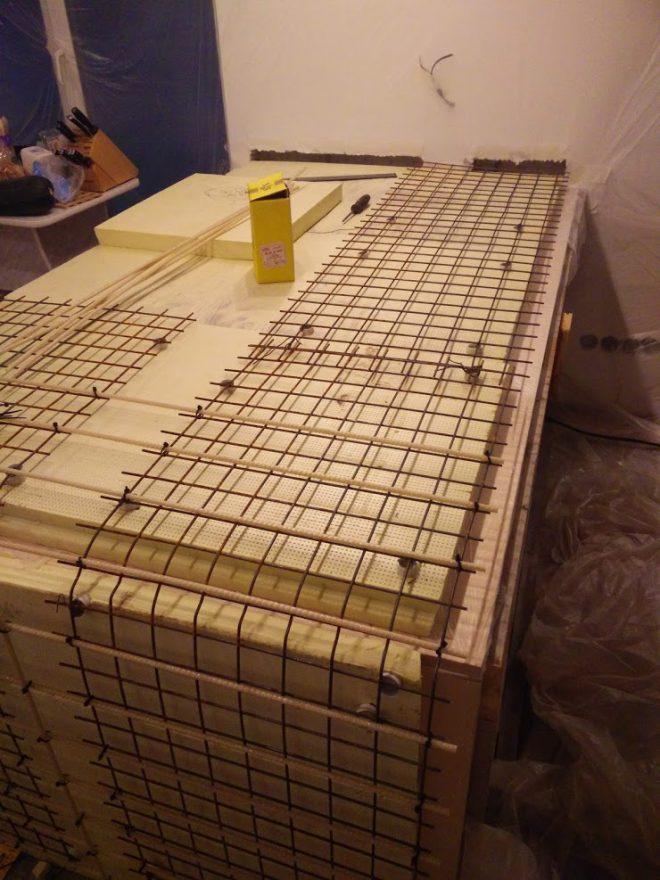 Армирование столешницы из бетона сеткой