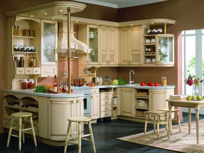 Классическая кухонная барная стойка