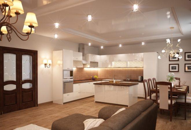 Кухня-гостиная и остров