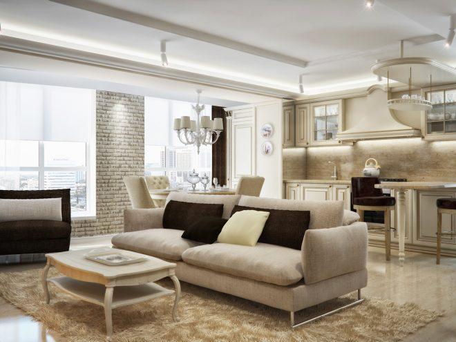 Мягкая мебель и кухня гостиная
