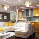 Кухня-гостиная солнечных цветов