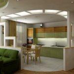 Простая современная кухня совмещенная с гостиной